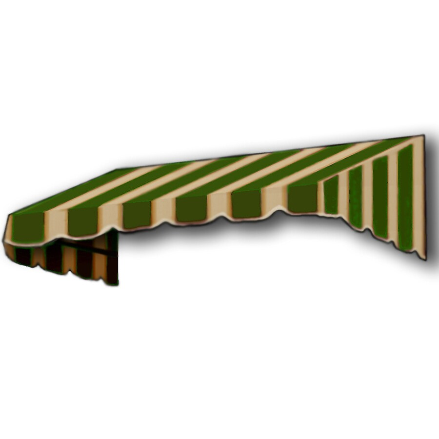 Awntech 124.5-in Wide x 24-in Projection Olive/Tan Stripe Slope Window/Door Awning