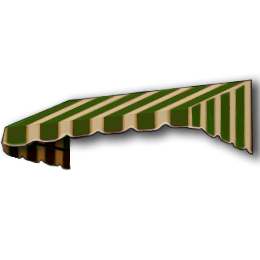 Awntech 304.5-in Wide x 24-in Projection Olive/Tan Stripe Slope Window/Door Awning