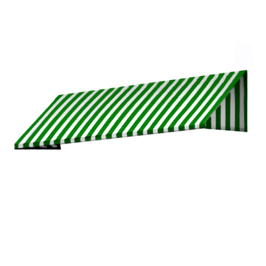 Awntech 124.5-in Wide x 24-in Projection Forest/White Stripe Slope Window/Door Awning