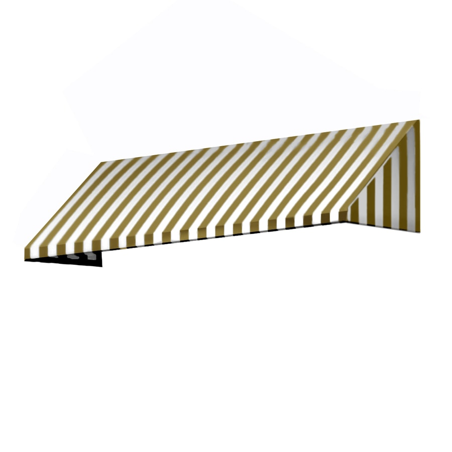 Awntech 544.5-in Wide x 24-in Projection Linen/White Stripe Slope Window/Door Awning