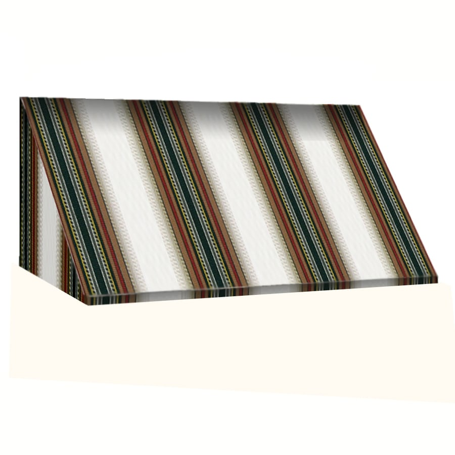 Awntech 364.5-in Wide x 36-in Projection Burgundy/Forest/Tan Stripe Slope Window/Door Awning