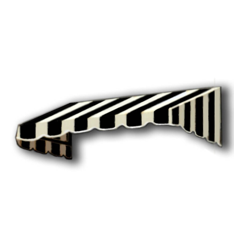 Awntech 604.5-in Wide x 48-in Projection Black/White Stripe Slope Window/Door Awning