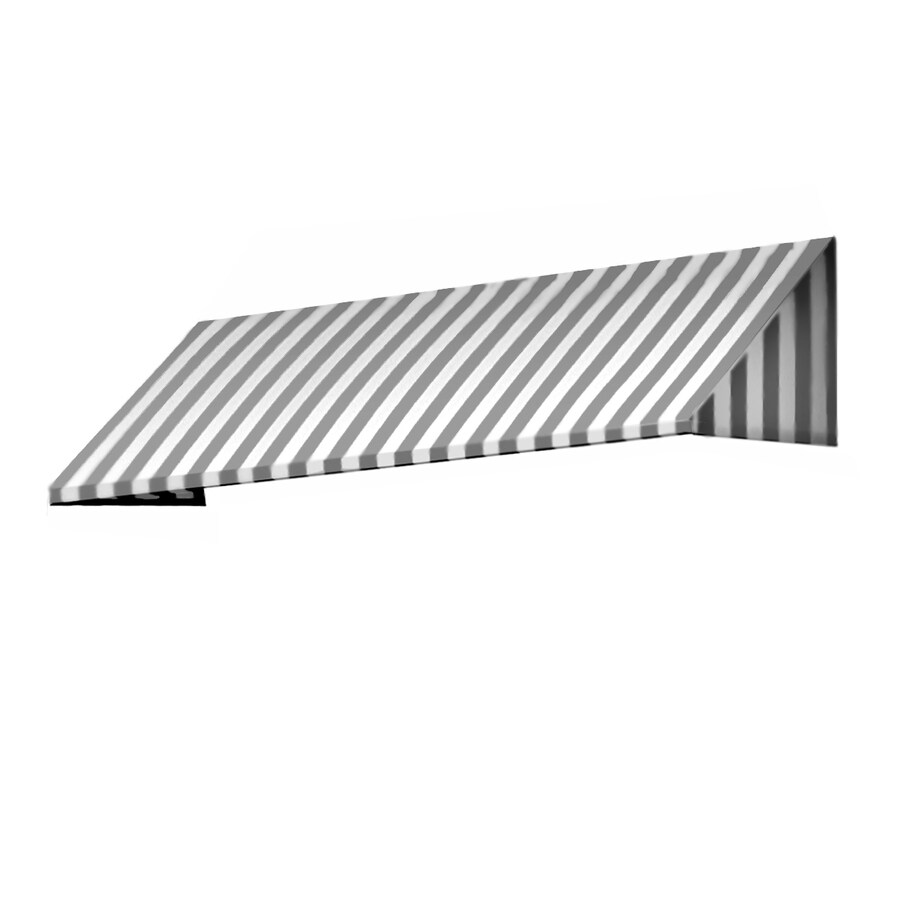Awntech 148.5-in Wide x 48-in Projection Gray/White Stripe Slope Window/Door Awning