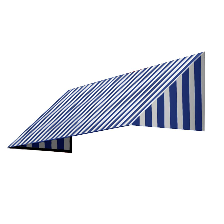 Awntech 244.5-in Wide x 48-in Projection Bright Blue/White Stripe Slope Window/Door Awning