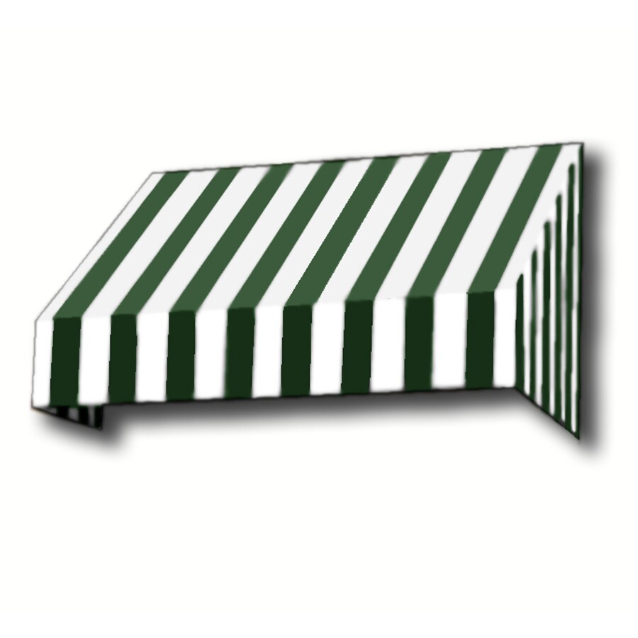 Awntech 244.5-in Wide x 48-in Projection Forest/White Stripe Slope Window/Door Awning