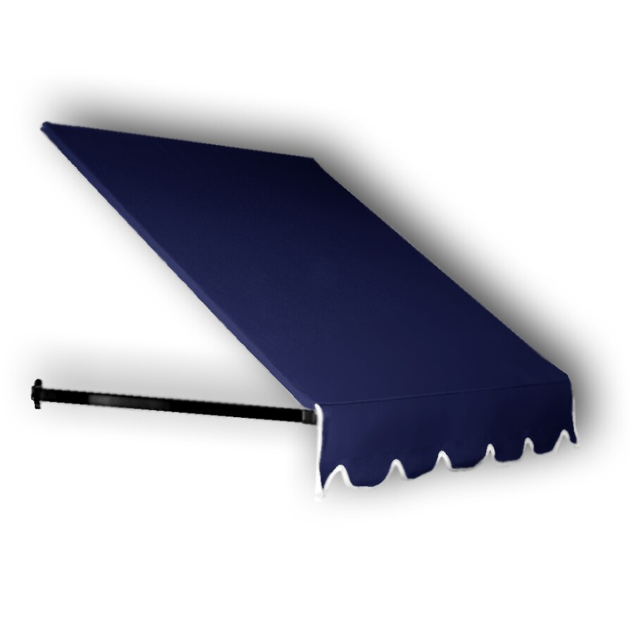 Awntech 124.5-in Wide x 24-in Projection Navy Solid Open Slope Window/Door Awning