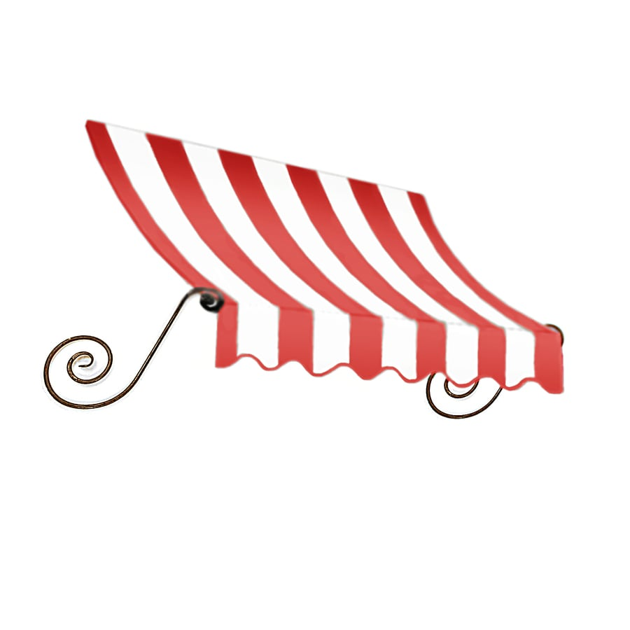 Awntech 148.5-in Wide x 12-in Projection Red/White Stripe Open Slope Window/Door Awning