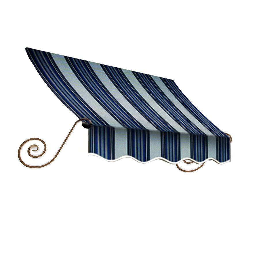Awntech 172.5-in Wide x 12-in Projection Navy/Gray/White Stripe Open Slope Window/Door Awning