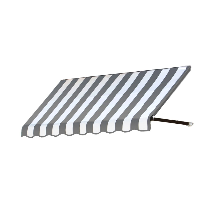 Awntech 424.5-in Wide x 36-in Projection Gray/White Stripe Open Slope Window/Door Awning