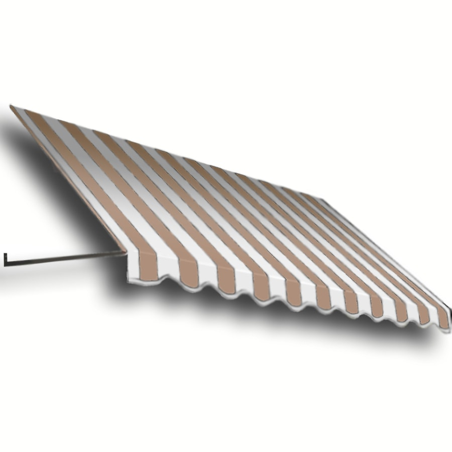 Awntech 604.5-in Wide x 36-in Projection Tan/White Stripe Open Slope Window/Door Awning