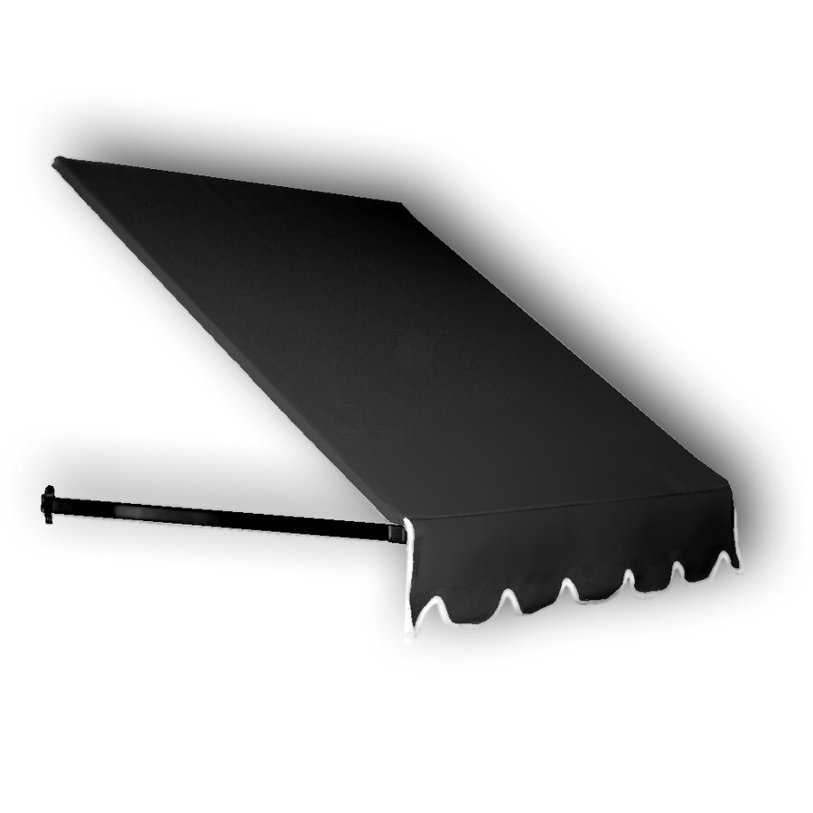 Awntech 484.5-in Wide x 48-in Projection Black Solid Open Slope Window/Door Awning