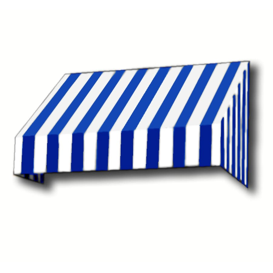 Awntech 124.5-in Wide x 42-in Projection Bright Blue/White Stripe Slope Window/Door Awning