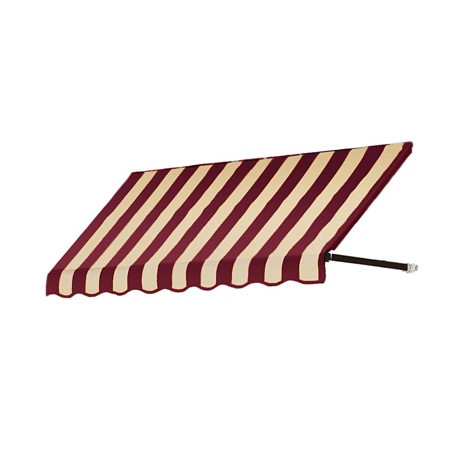 Awntech 124.5-in Wide x 42-in Projection Burgundy/Tan Stripe Open Slope Window/Door Awning