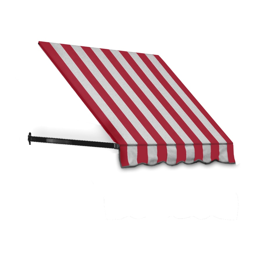 Awntech 124.5-in Wide x 42-in Projection Red/White Stripe Open Slope Window/Door Awning