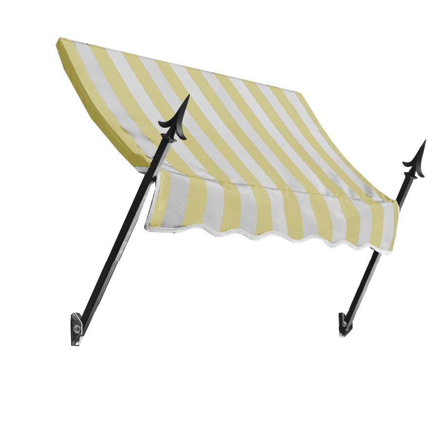 Awntech 76.5-in Wide x 32-in Projection Yellow/White Stripe Open Slope Window/Door Awning