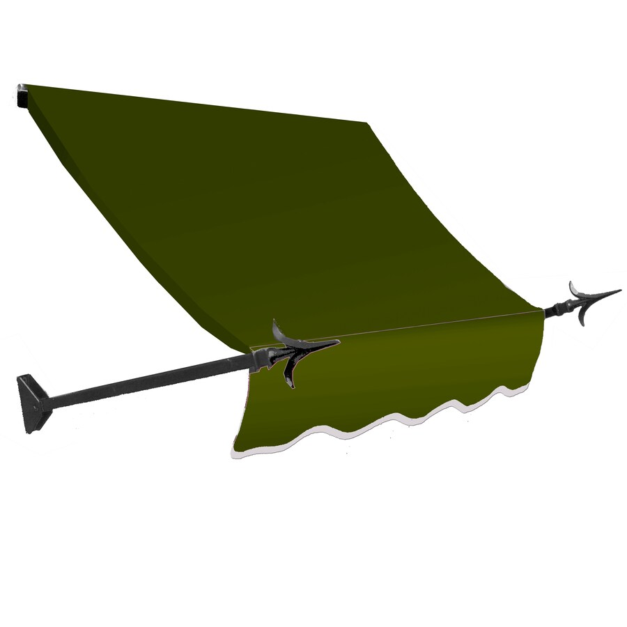 Awntech 88.5-in Wide x 32-in Projection Olive Solid Open Slope Window/Door Awning
