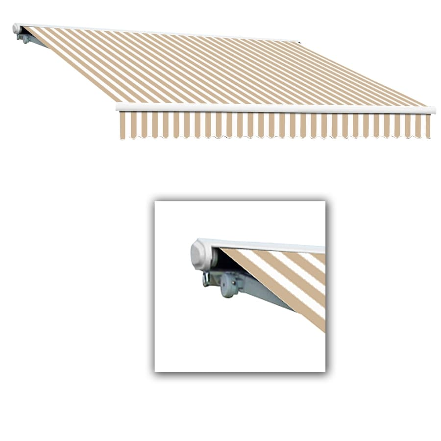 Awntech 216-in Wide x 122-in Projection Tan/White Stripe Slope Patio Retractable Manual Awning