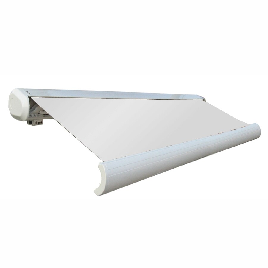 Awntech 144-in Wide x 122-in Projection Off-White Solid Slope Patio Retractable Remote Control Awning