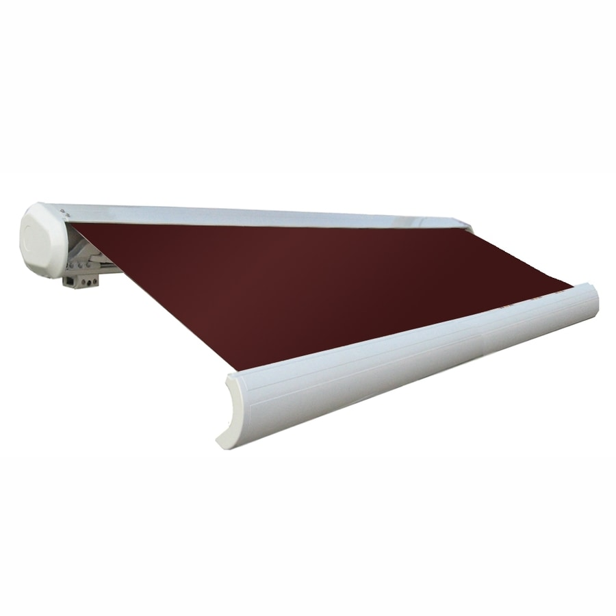 Awntech 96-in Wide x 84-in Projection Burgundy Solid Slope Patio Retractable Remote Control Awning