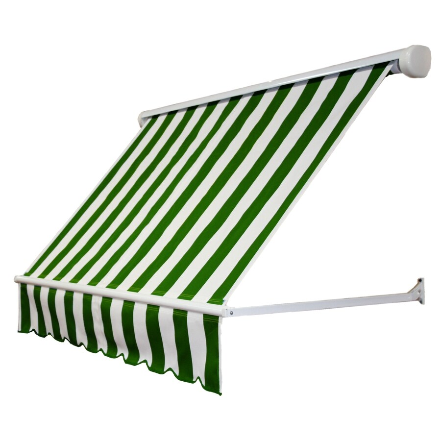 Awntech 120-in Wide x 24-in Projection Forest/White Stripe Open Slope Window Retractable Manual Awning
