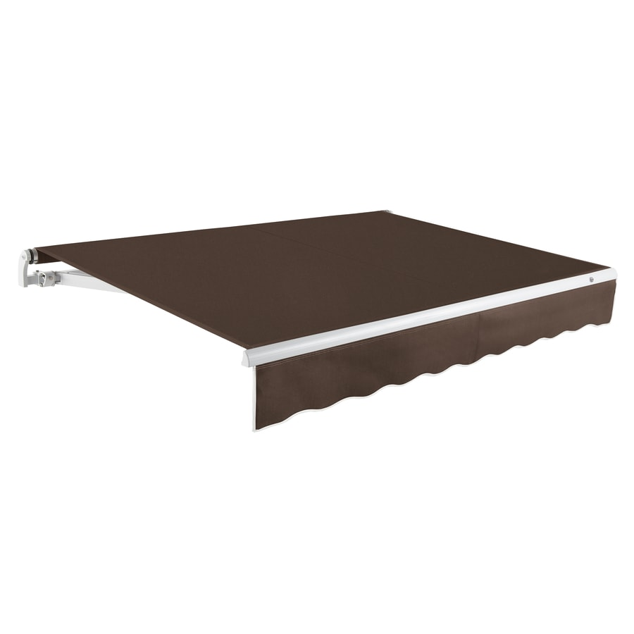 Awntech 144-in Wide x 120-in Projection Brown Solid Slope Patio Retractable Remote Control Awning