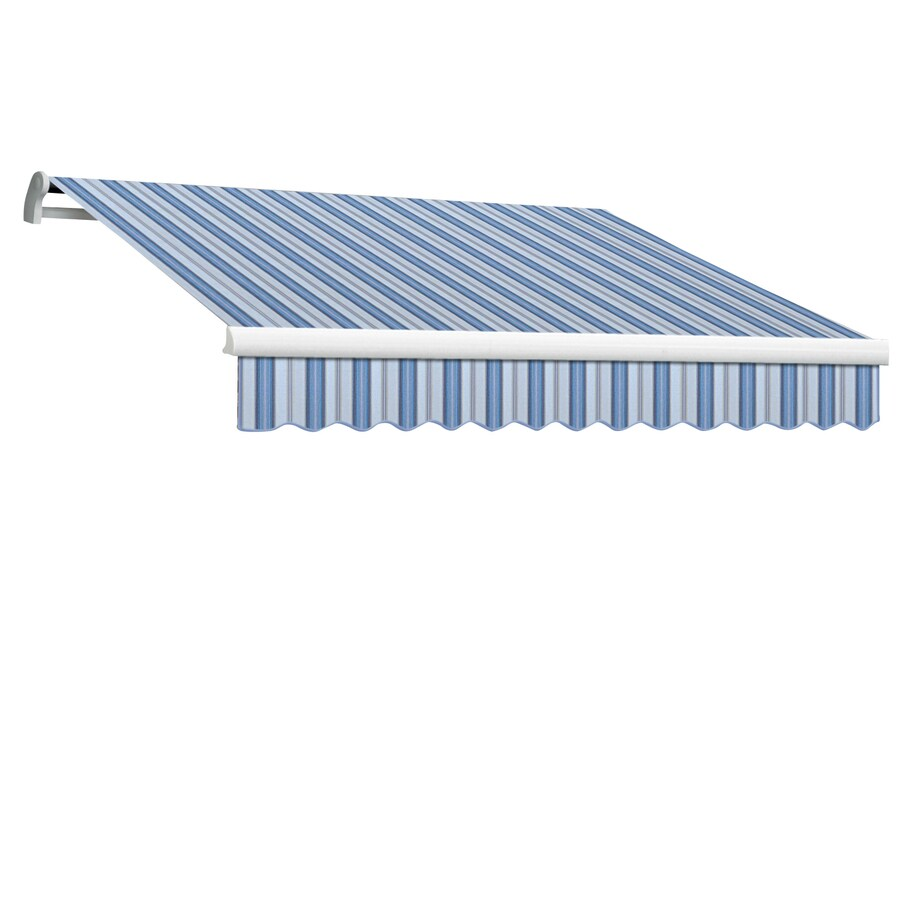 Awntech 96-in Wide x 84-in Projection Blue Multi Stripe Slope Patio Retractable Manual Awning