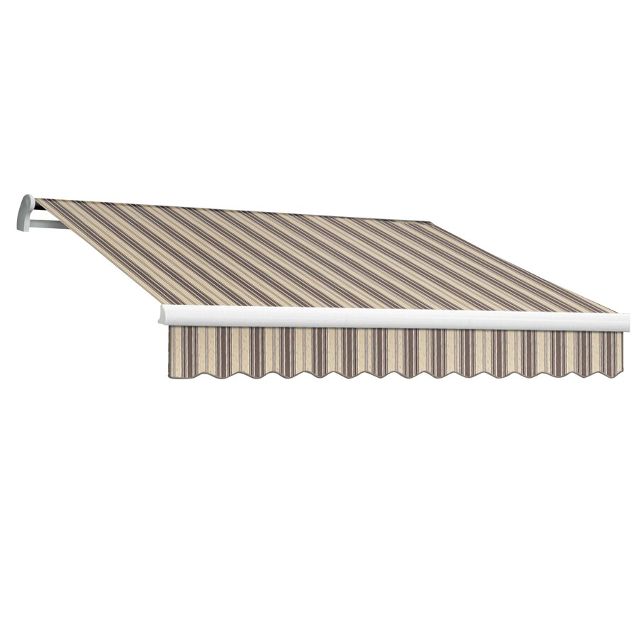 Awntech 96-in Wide x 84-in Projection Taupe Multi Stripe Slope Patio Retractable Manual Awning