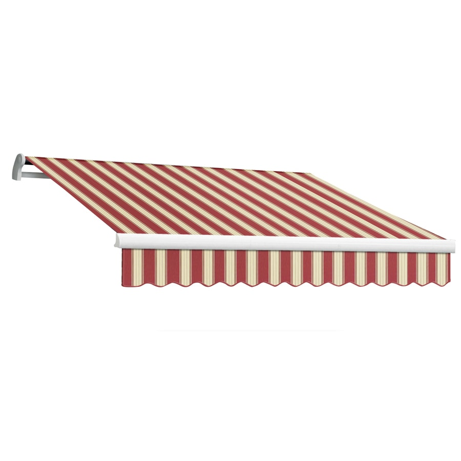 Awntech 96-in Wide x 84-in Projection Burgundy/White Multi Stripe Slope Patio Retractable Manual Awning