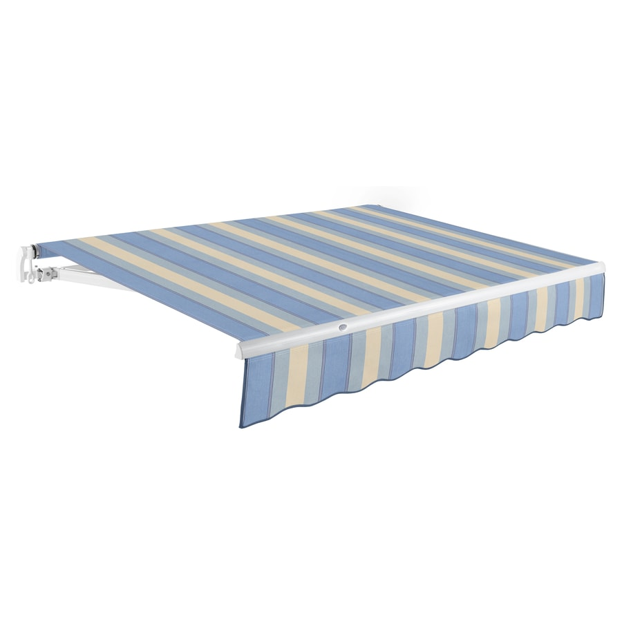 Awntech 96-in Wide x 84-in Projection Dusty Blue/Tan Multi Stripe Slope Patio Retractable Manual Awning