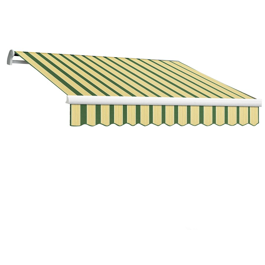 Awntech 96-in Wide x 84-in Projection Forest/Tan Multi Stripe Slope Patio Retractable Manual Awning