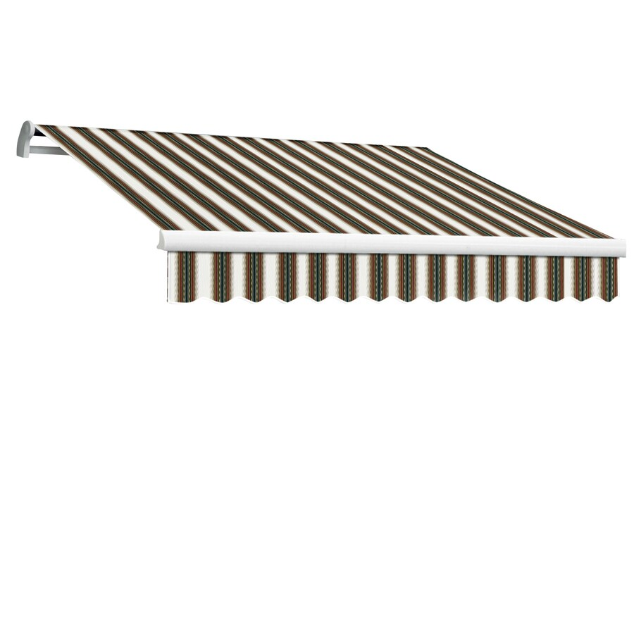Awntech 120-in Wide x 96-in Projection Burgundy/Forest/Tan Stripe Slope Patio Retractable Manual Awning