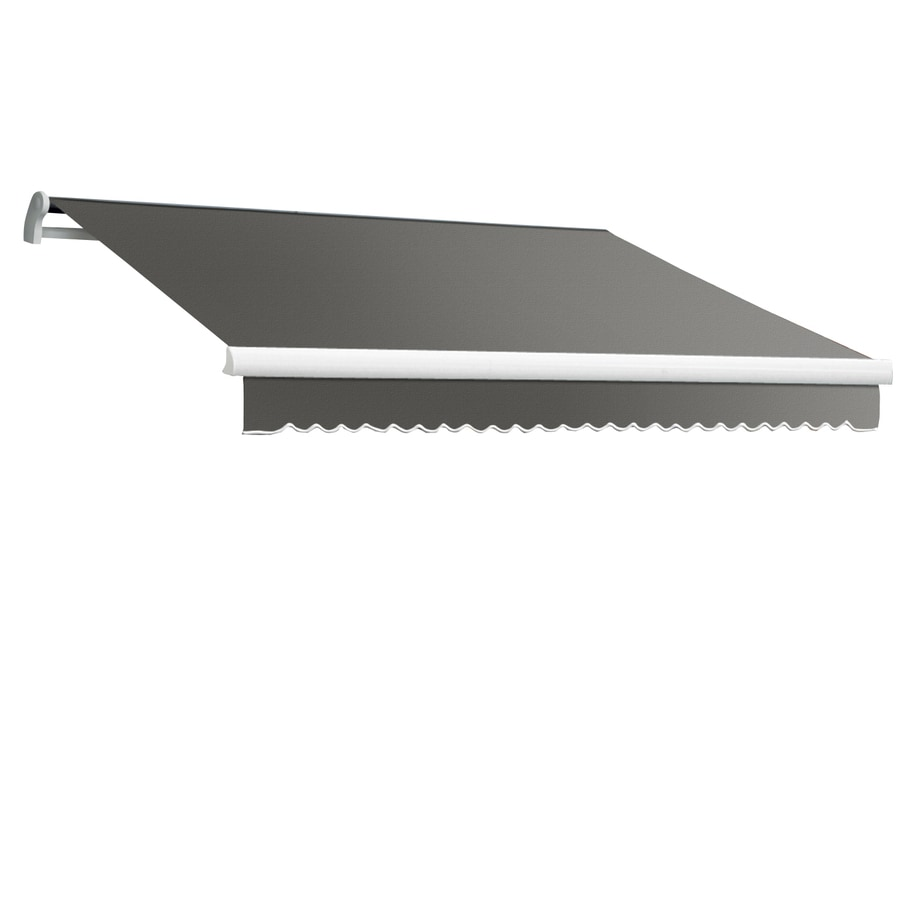 Awntech 120-in Wide x 96-in Projection Gray Solid Slope Patio Retractable Manual Awning