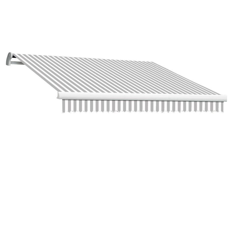 Awntech 120-in Wide x 96-in Projection Gray/White Stripe Slope Patio Retractable Manual Awning