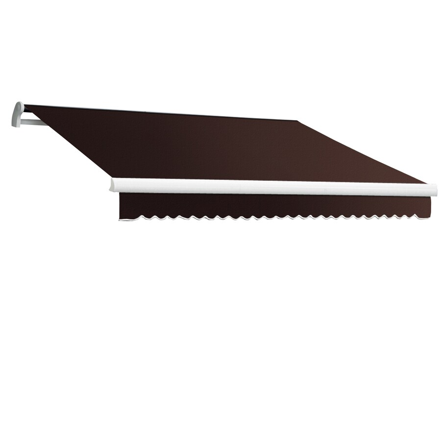 Awntech 144-in Wide x 120-in Projection Brown Solid Slope Patio Retractable Manual Awning