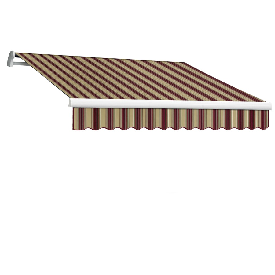 Awntech 144-in Wide x 120-in Projection Burgundy/Tan Multi Stripe Slope Patio Retractable Manual Awning