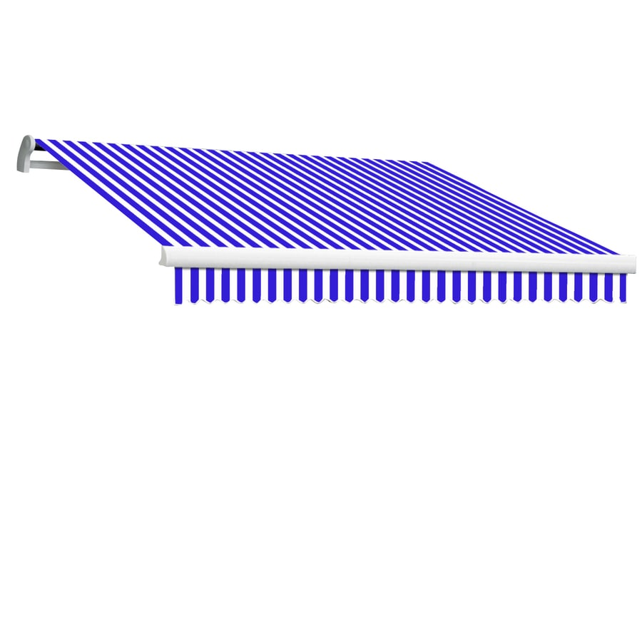 Awntech 192-in Wide x 120-in Projection Bright Blue/White Stripe Slope Patio Retractable Manual Awning