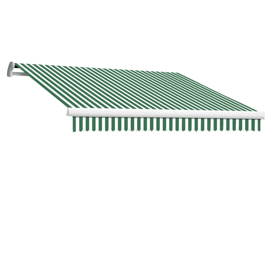 Awntech 192-in Wide x 120-in Projection Forest/White Stripe Slope Patio Retractable Manual Awning