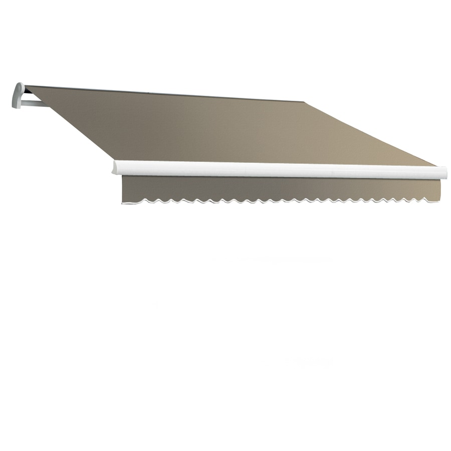 Awntech 96-in Wide x 84-in Projection Taupe Solid Slope Patio Retractable Remote Control Awning