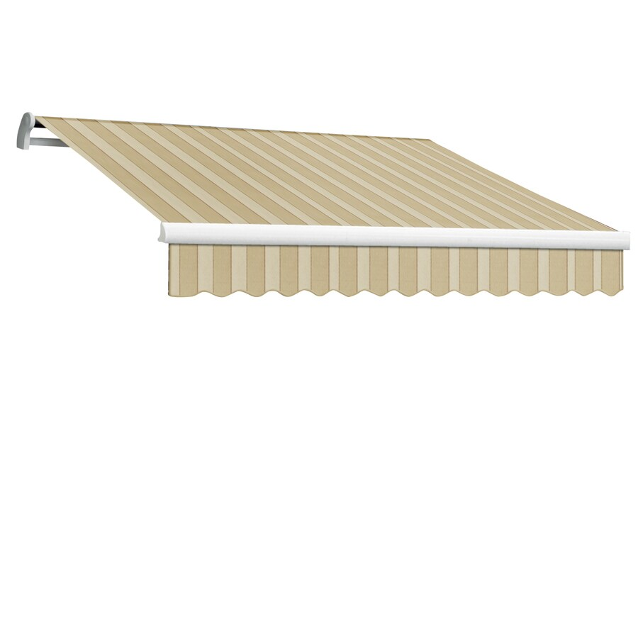 Awntech 144-in Wide x 120-in Projection Linen/Almond/White Stripe Slope Patio Retractable Remote Control Awning