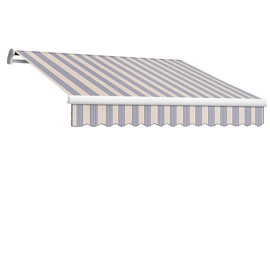 Awntech 192-in Wide x 120-in Projection Dusty Blue Multi Stripe Slope Patio Retractable Remote Control Awning