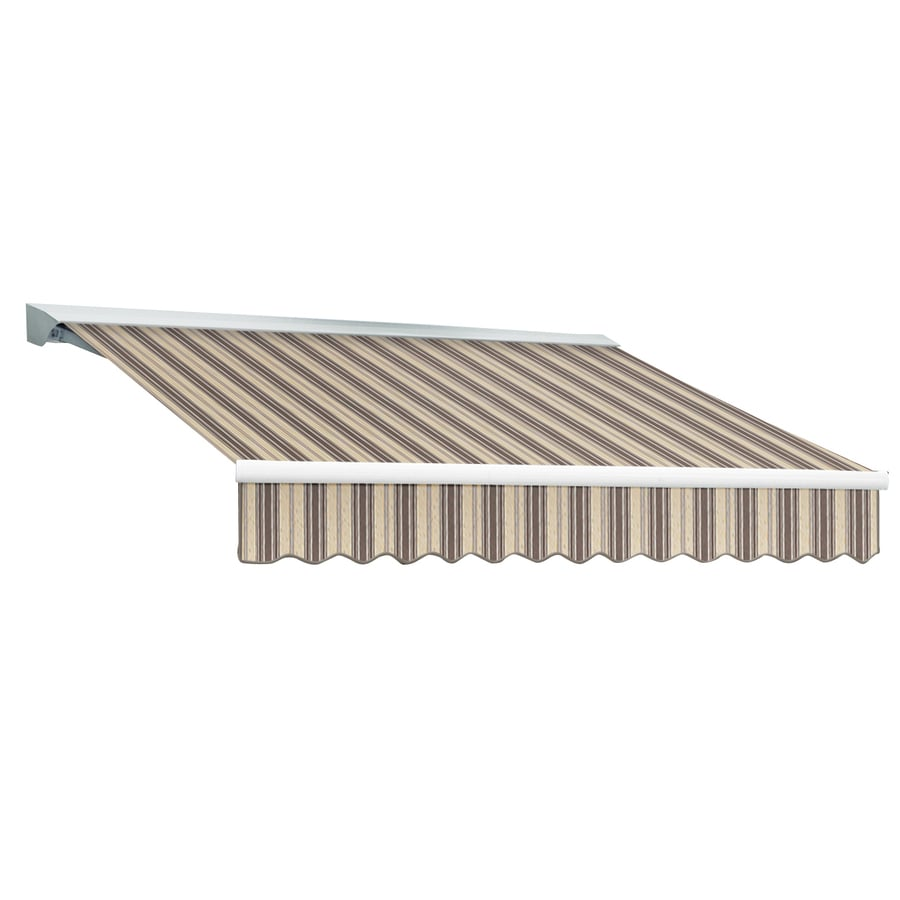 Awntech 144-in Wide x 120-in Projection Taupe Multi Stripe Slope Patio Retractable Remote Control Awning