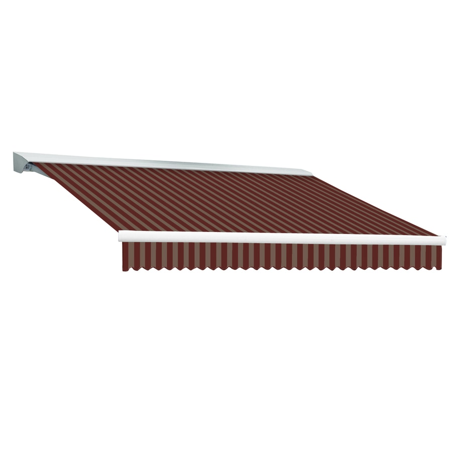 Awntech 192-in Wide x 120-in Projection Burgundy/Tan Stripe Slope Patio Retractable Remote Control Awning