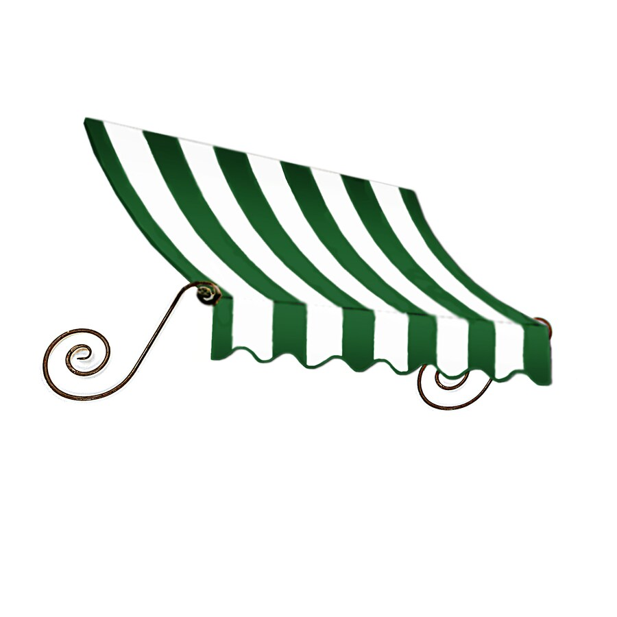 """Awntech 4' Beauty-Mark� Charleston� (44""""H X 36""""D) Window/Entry Awning / Forest/White Stripe"""