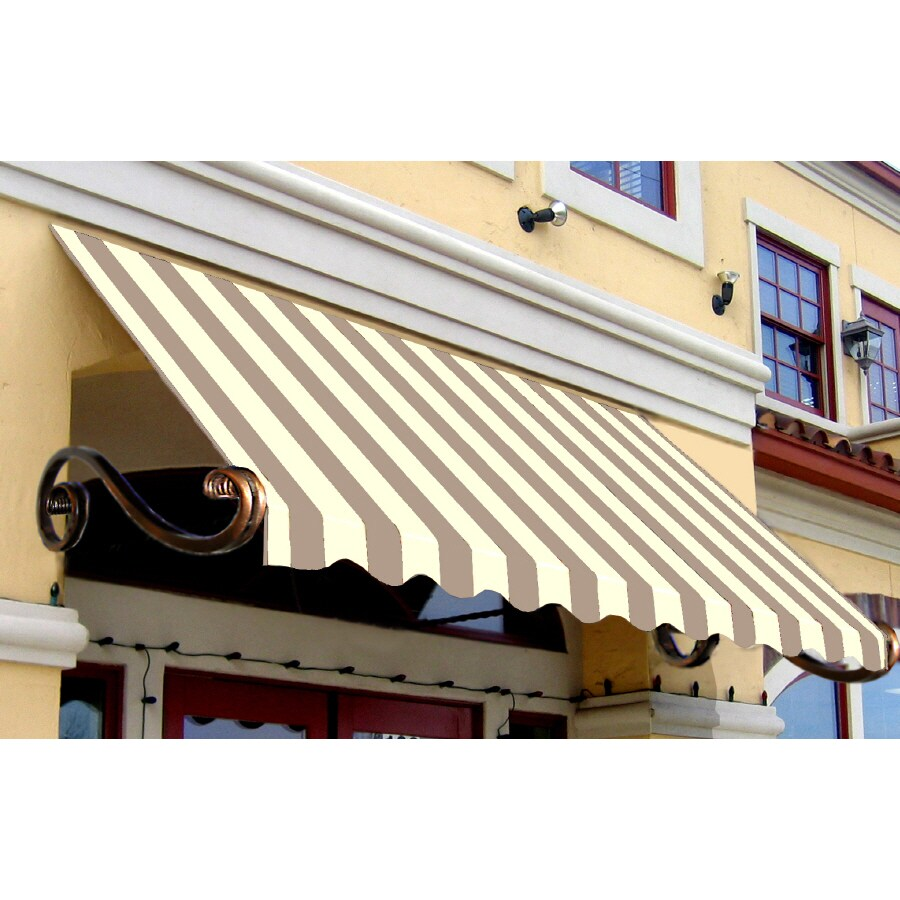 "Awntech 6' Beauty-Mark� Charleston� (44""H X 36""D) Window/Entry Awning / Tan/White Stripe"