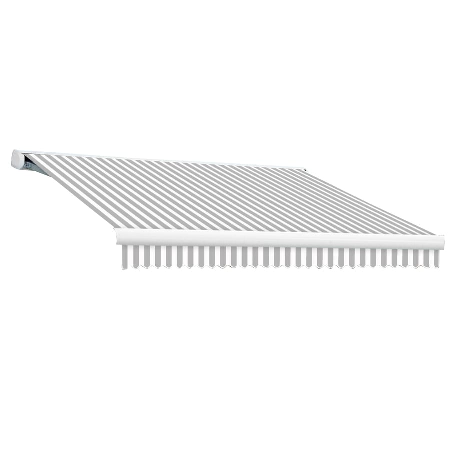 Awntech 96-in Wide x 84-in Projection Gray/White Stripe Slope Patio Retractable Manual Awning