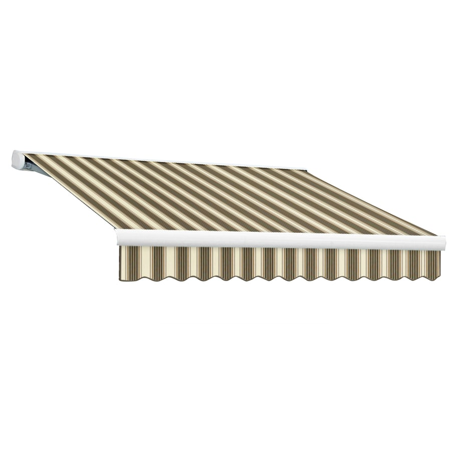 Awntech 120-in Wide x 96-in Projection Brown/Tan/White Stripe Slope Patio Retractable Manual Awning
