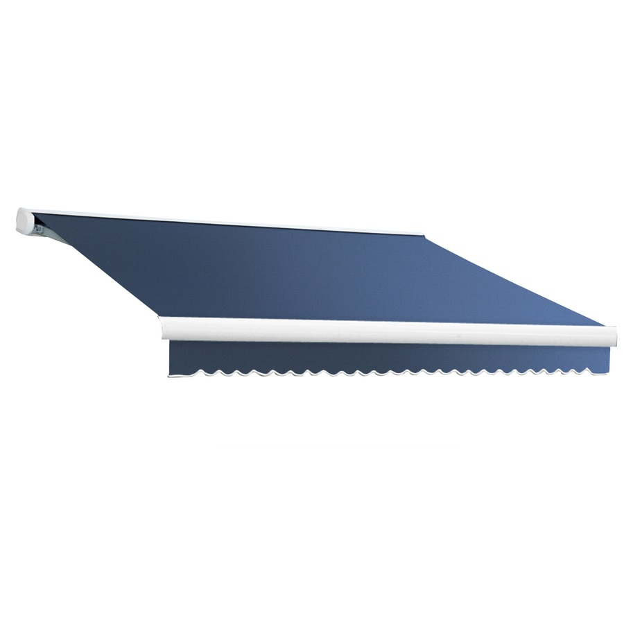 Awntech 216-in Wide x 120-in Projection Dusty Blue Solid Slope Patio Retractable Remote Control Awning