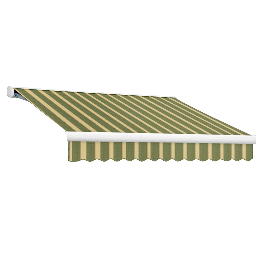 Awntech 192-in Wide x 120-in Projection Olive/Tan Stripe Slope Patio Retractable Remote Control Awning