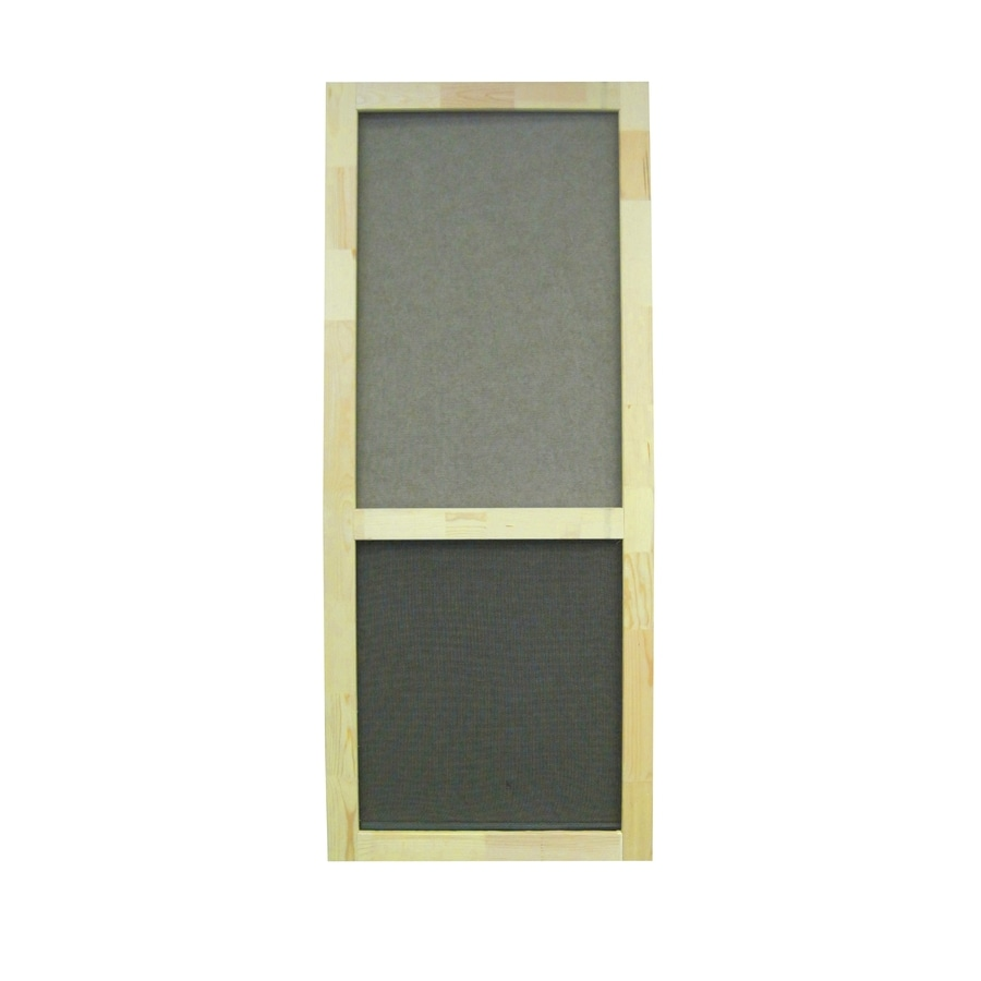 Shop screen tight liberty natural wood hinged screen door for Lowes screen doors