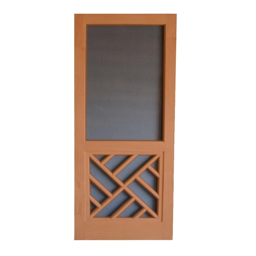 Screen Tight Chippendale Redwood Wood Screen Door (Common: 36-in x 80-in; Actual: 36-in x 80-in)